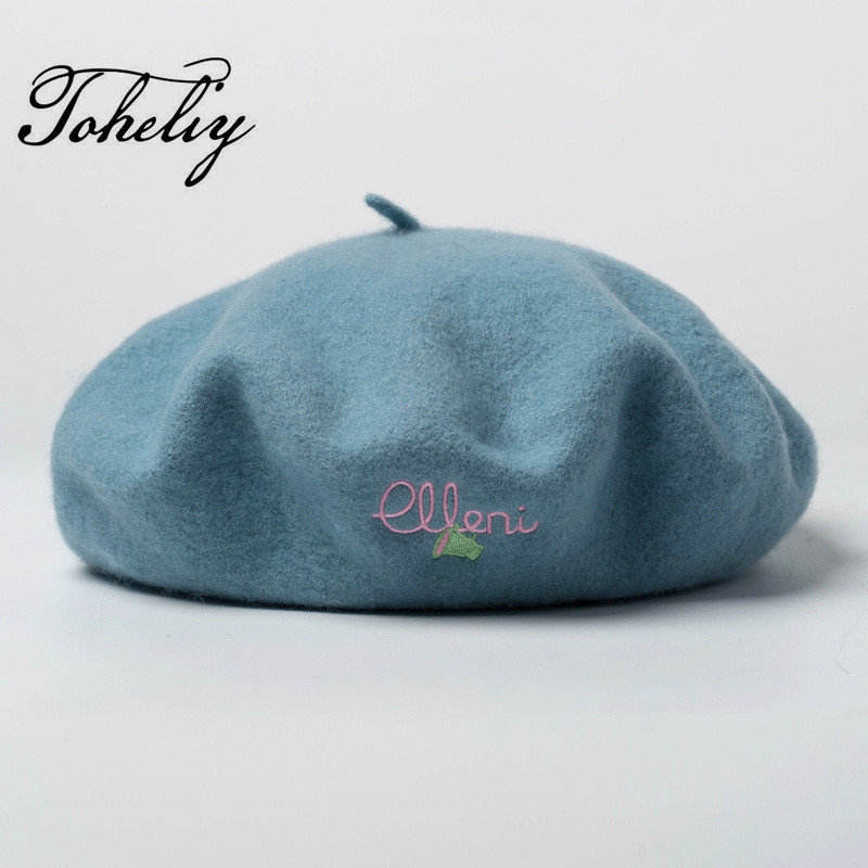 075a4090b8fd7 New style spring Autumn 100% Wool Winter letters flower embroidery Women  Beret Hat For Sweet