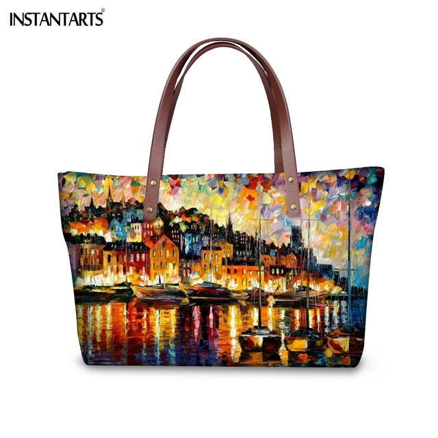 INSTANTARTS שמן ציור נוף עץ נשים גדול לשאת שקיות מותג מעצב נשי כתף תיק נסיעות קניות למעלה ידית תיק