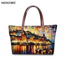 Instantarts油絵の風景ツリー女性大トートバッグブランドデザイナー女性のショルダーバッグ旅行ショッピングトップハンドルバッグ