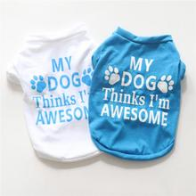 Cheap Small Dog Clothes Summer Spring White and Blue Styles Pet Cat Shirt Cute Yorkshire Terrier XS-L T-shirt Breathable