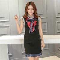 SZMXSS Autumn Short Dress Quality Designer Black White Lace Dress With Embroidery Summer Elegant Luxury Bow
