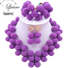 Laanc Latest Purple African Jewelry Set for Women Nigerian Wedding Beads Necklace and Earrings JXZ006 red 100% genuine african coral beads necklace set nigerian wedding sexy bridal jewelry set dubai 2017 free shipping