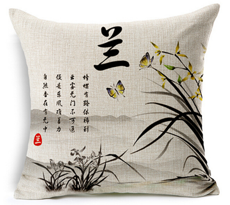 4 copë / shumë Stili i pikturës së bojës kineze Plum krizantemë - Tekstil për shtëpi - Foto 3