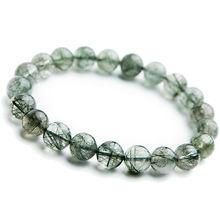 Genuine Natural Green Rutilated Quartz Bracelets 8mm 9mm Women Men Stretch Rutilated Quartz Crystal Round Beads Bracelet AAAA 500pcs 12mhz 3 8mm passive cylindrical quartz crystal oscillator