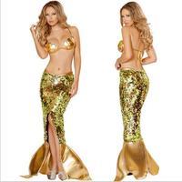 free shipping 2016 New Design Hot Sell Halloween princess sexy adult mermaid costume women plu size S XL