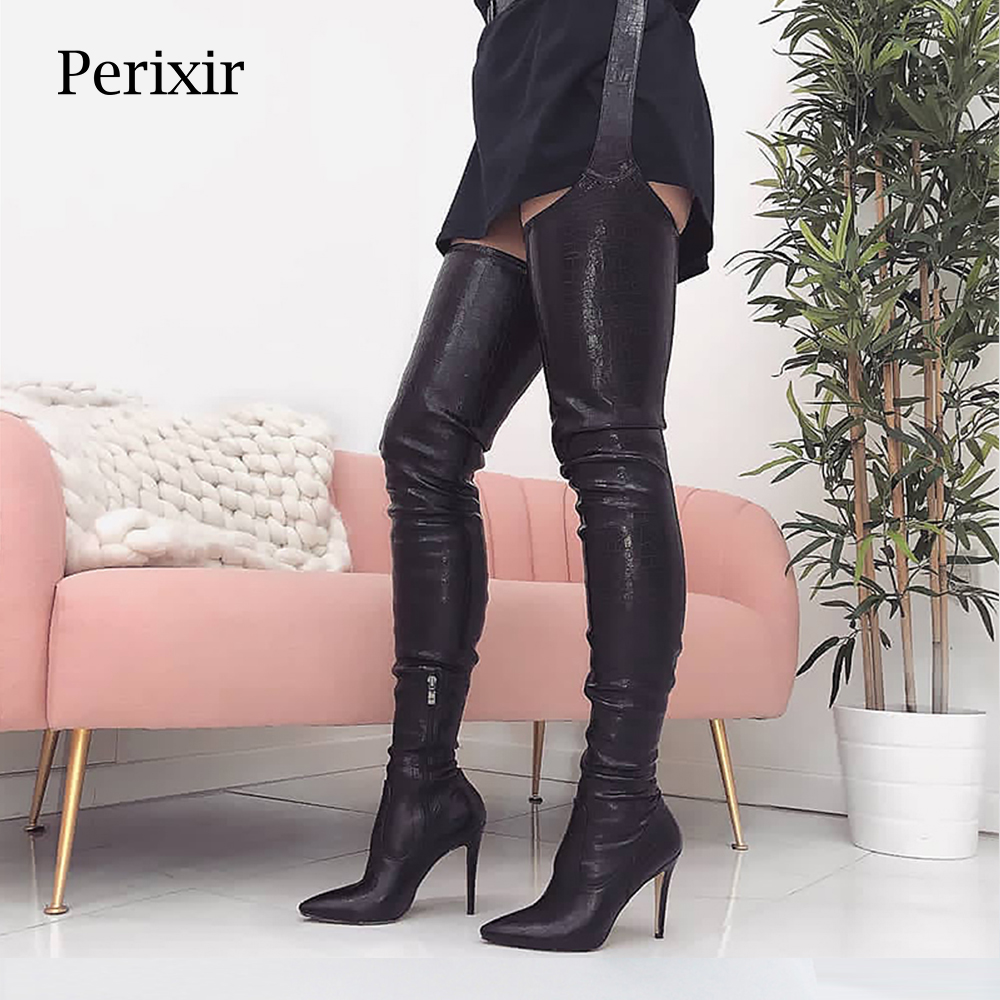 Perixir PU Women High Heels Long Thigh High Boots Rihanna Style Over the Knee Boots for Women Shoes Pointed Toe Pleated Solid-in Over-the-Knee Boots from Shoes