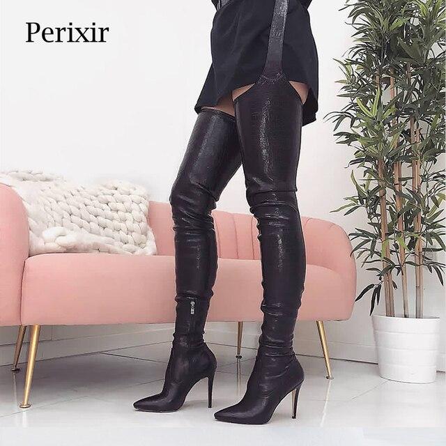Perixir נשים גבוהה עקבים ארוך ירך גבוהה מגפי ריהאנה סגנון מעל הברך מגפי מחודדת הבוהן נשים שחור נעלי ב חורף 2020