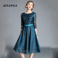 AIYANGA Sexy Hollow Out Lace Dress Women 2018 Autumn Elegant High Waist Half Sleeve Elegant Dress Christmas Long Dress Vestidos