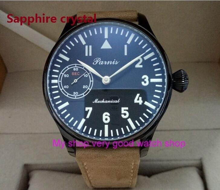 44mm PARNIS black dial  Asian 6497/3600 Mechanical Hand Wind movement PVD case men