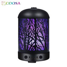 COOSA Forest Type Ultrasonic Air Humidifier 100ml Metal Aroma Essential Oil Diffuser 7 Color LED Lights for Home Bedrooom Gift