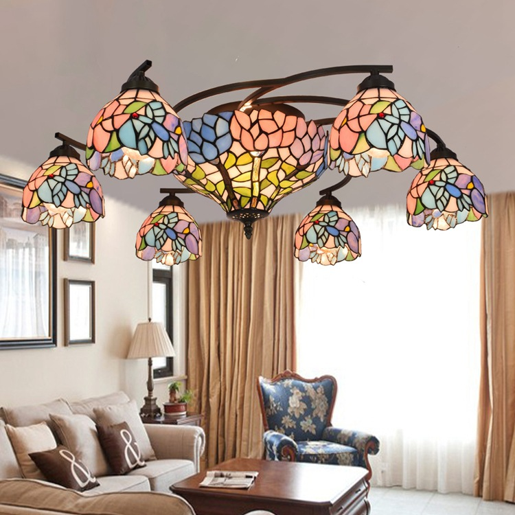 Tiffany Flesh Country Flowers Stained Glass Suspended Luminaire E27 110 240V Chain Pendant lights for Home Parlor Dining Room