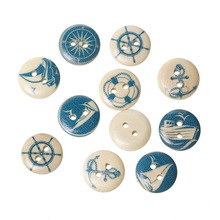 100Pcs Mixed Yachting Ancre Pattern Wood Sewing Buttons 2 Holes Round Wooden Scrapbook Ornaments Making 15mm