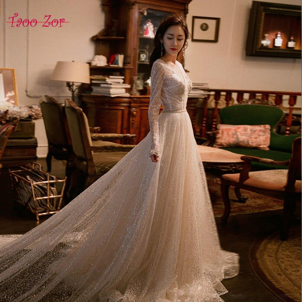Taoozor удивительные блестящие Свадебные платья 2018 Лидер Продаж Bling Line свадебное платье Турция Vestido De Noiva BODA платье невесты
