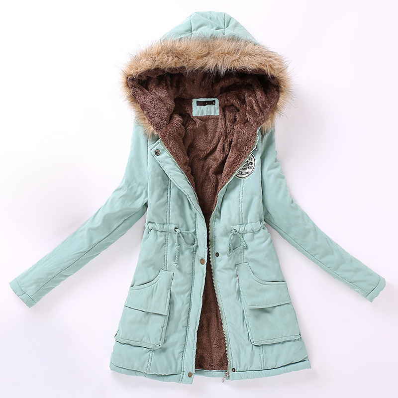 Danjeaner Women Parka Fashion Autumn Winter Slim Warm Jackets Women Fur Collar Long Coats Hoodies Jacket Plus Size Women Coats