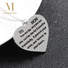 TO My Mom Fashion Lettering Stainless Steel Necklace Clavicle Chain Mother's Day Gift Elegant Heart Pendant Necklace(China)