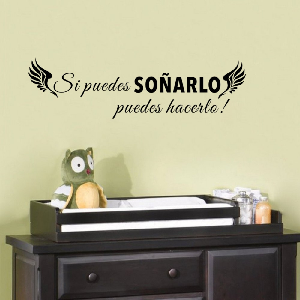 Classics Spanish Quotes If You Can Dream With Wing Vinyl Wall Sticker Bedroom Inspirational Decal For Home Decor Mural D054 In Wall Stickers From Home
