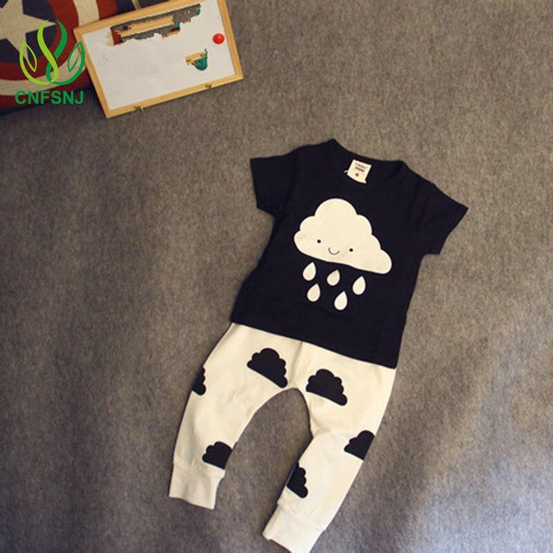 Sıcak Satış Kız Bebek Erkek Giysileri Yeni 2016 Bahar Yenidoğan bebeğin Setleri T Shirt + Pantolon Bulutlar Yağmur Yenidoğan bebek Kız Giysileri