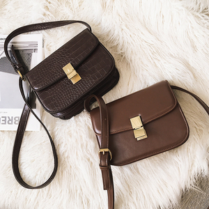 Image 1 - High quality designer satchels brand pu leather purses and handbags ladies chain clutch tofu bag messenger tote Alligator flap
