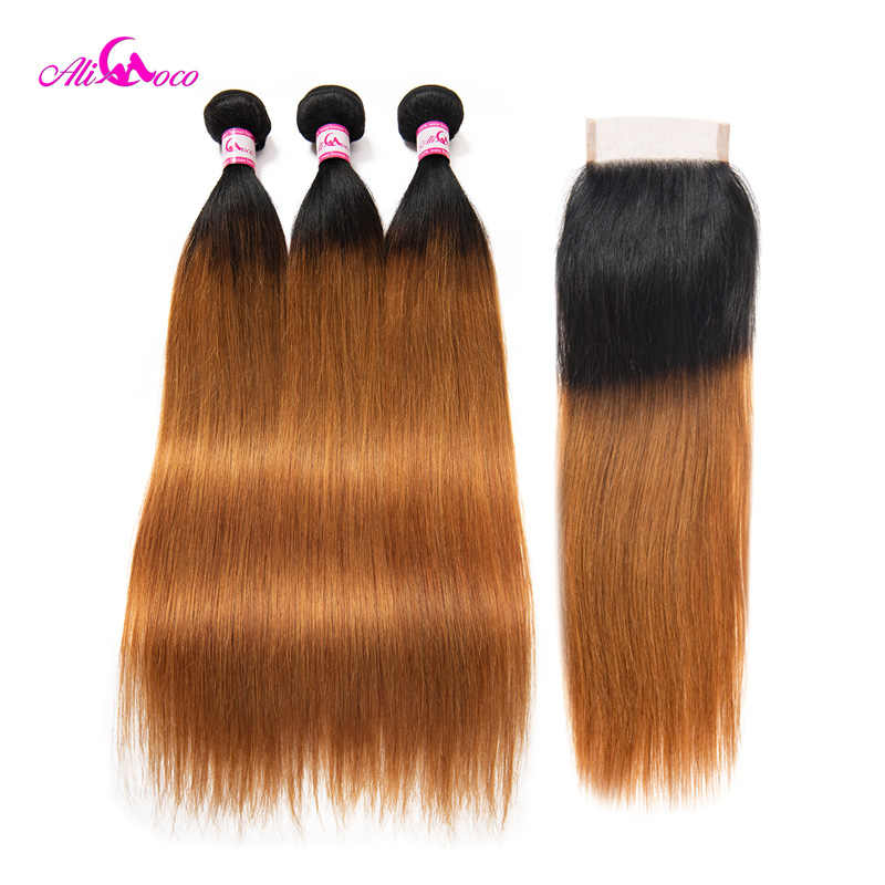 Ali coco brasileiro tecer cabelo humano em linha reta 3 pacotes com fechamento 1b/30 cor 8-28 Polegada extensões de cabelo remy do laço suíço