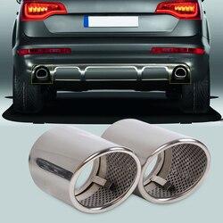 Beler 2 sztuk Chrome ze stali nierdzewnej wydechowy tłumik tylny końcówka rury dla Audi Q7 3.0 TDI TFSI 2006 2007 2008 2009 2010-2013