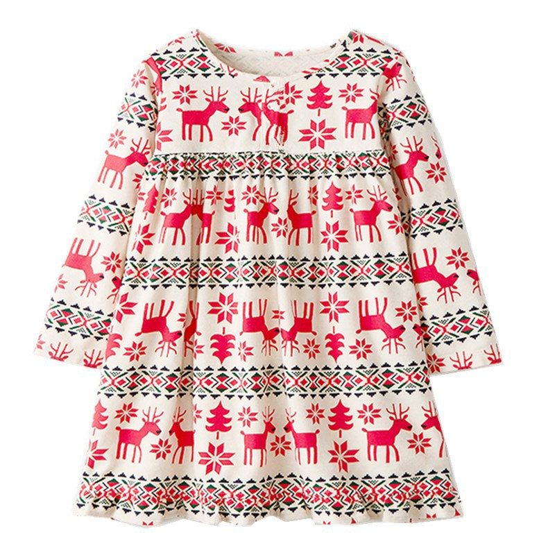 Girls Princess Dress Chrismas Party Dress Long Sleeves Cartoon Cotton Dress for Baby Girl Cute Reindeer Print Floral Dress random floral print v neck short sleeves split hem maxi dress