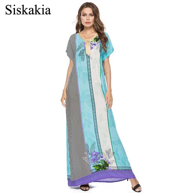 e46df3b1d20be Siskakia Stripe Print Maxi Long Dress Women Elegant Loose Bohemia Style  Female Long Dresses Light Blue V Neck Short Sleeve New