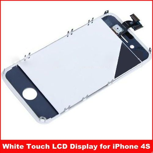 For iPhone 4S White Touch Digitizer LCD Display Assembly ,Free shipping
