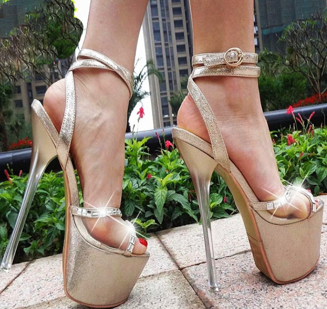 <font><b>17cm</b></font> Women Platform Open Toe <font><b>Sexy</b></font> Sandals Stilettos Slingbacks Super <font><b>High</b></font> <font><b>Heels</b></font> Ankle Strap Buckle Shoes Gold Sliver Pumps A1201 image