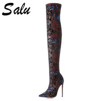 Salu Genuine Leather stretch fabric Women ankle Boots Sexy High Heels Pointed toe Autumn Winter Boots Fashion Women's Shoes