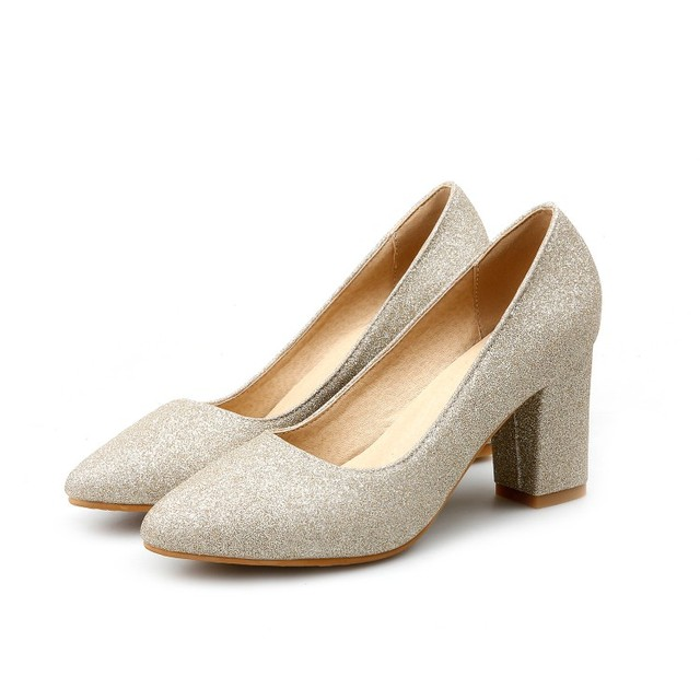2f4392a07c4 basic sequined cloth women high heel shoes square heel pointed toe slip on  lady party pumps shallow shoes silver golden shoes