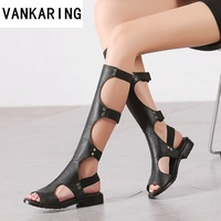 classic design fashion gladiator summer sandals women knee high boots ladies sexy cut outs black boots leather dress shoes woman