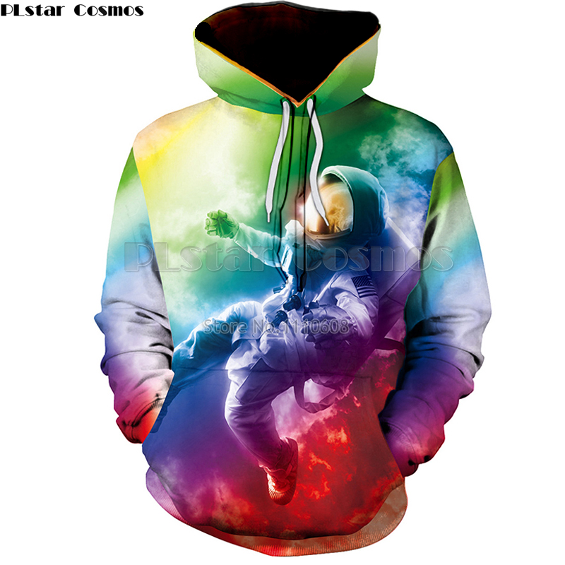 Lstar Cosmos Planet colorful astronaut Hoodies Sweatshirts men/women 3D Print Hooded Sweats Tops Streetwear Unisex Pullover