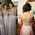 Ew 2017 Сшитое Sexy-Line Дешевые Sheer Вернуться Вышивка Бисером Ruched Cap рукавом длиной до пола, Серый Шифон Невесты платья