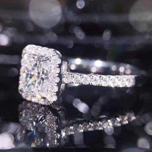 Image 4 - STARYEE 1CT Radyant kesim moissanit Nişan Yüzüğü Gerçek 18 K Beyaz Altın Pırlanta Güzel Takı Kadınlar Için Charles Colvard VS F taşlar