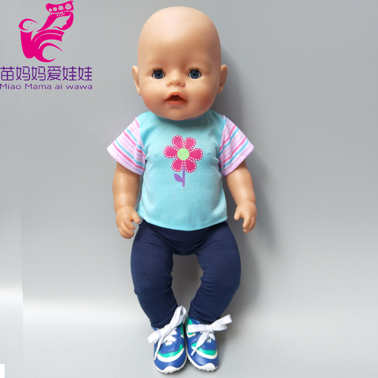 Baby Born Doll outfit blue shirt Fit For 43cm Zapf Baby Born Doll Cute for 18 inch Doll Clothes Children Gifts rose christmas gift 18 inch american girl doll swim clothes dress also fit for 43cm baby born zapf dolls