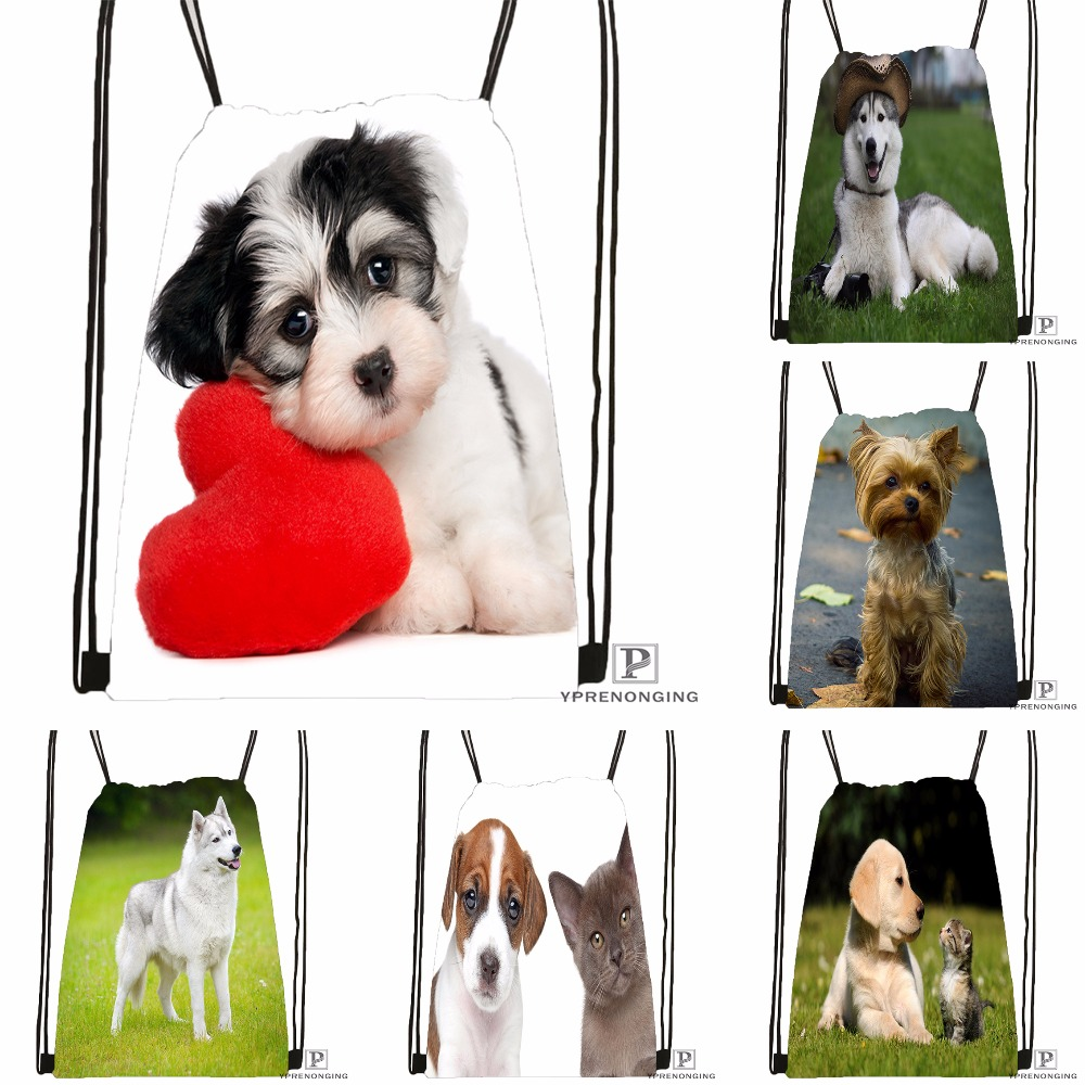 Custom Yorkshire Terrier Puppy Dog #2 Drawstring Backpack Bag Cute Daypack Kids Satchel (Black Back) 31x40cm#180531-02-37