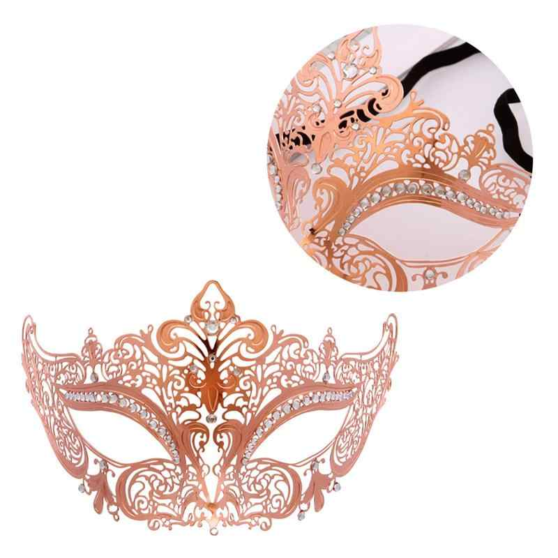 Party Photo Props Mask Metal High-Grade Rose Gold Inlaid Drill Venetian Mask For Carnival Halloween Cosplay Masquerade Supplies