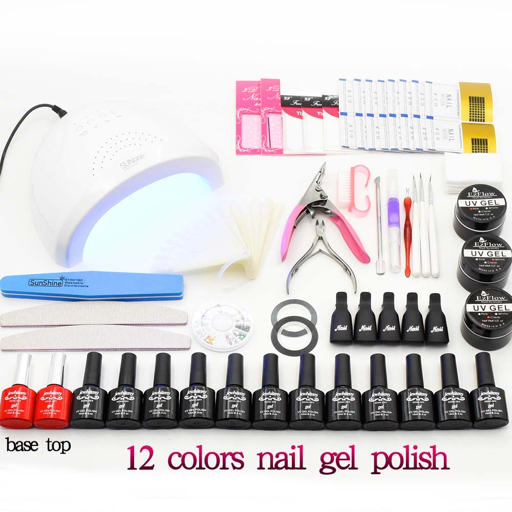 UV LED Lamp nail dryer & 12 Color UV Gel Nail polish Art Tools polish nail Set Kit uv building gel base top coat manicure set professional nail dryer lamp machine 12 color uv gel polish nail art tips glue brush kit set diy manicure tools for beautynail