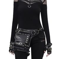 Women Leather Rivet Waist Bags Motorcycle Thigh Drop Leg Bag Female Steampunk Crossbody Holster Bag Punk Wallet Purse Pouch 2019