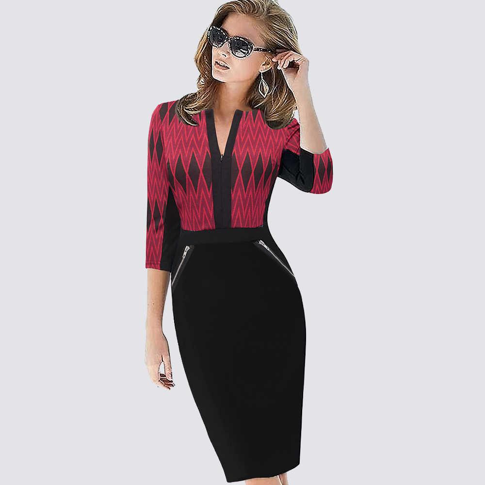 プラスサイズの女性秋のワークオフィスビジネスカラーブロックペンシルドレスカジュアルフロントジッパーパッチワークシースボディコンドレス 837
