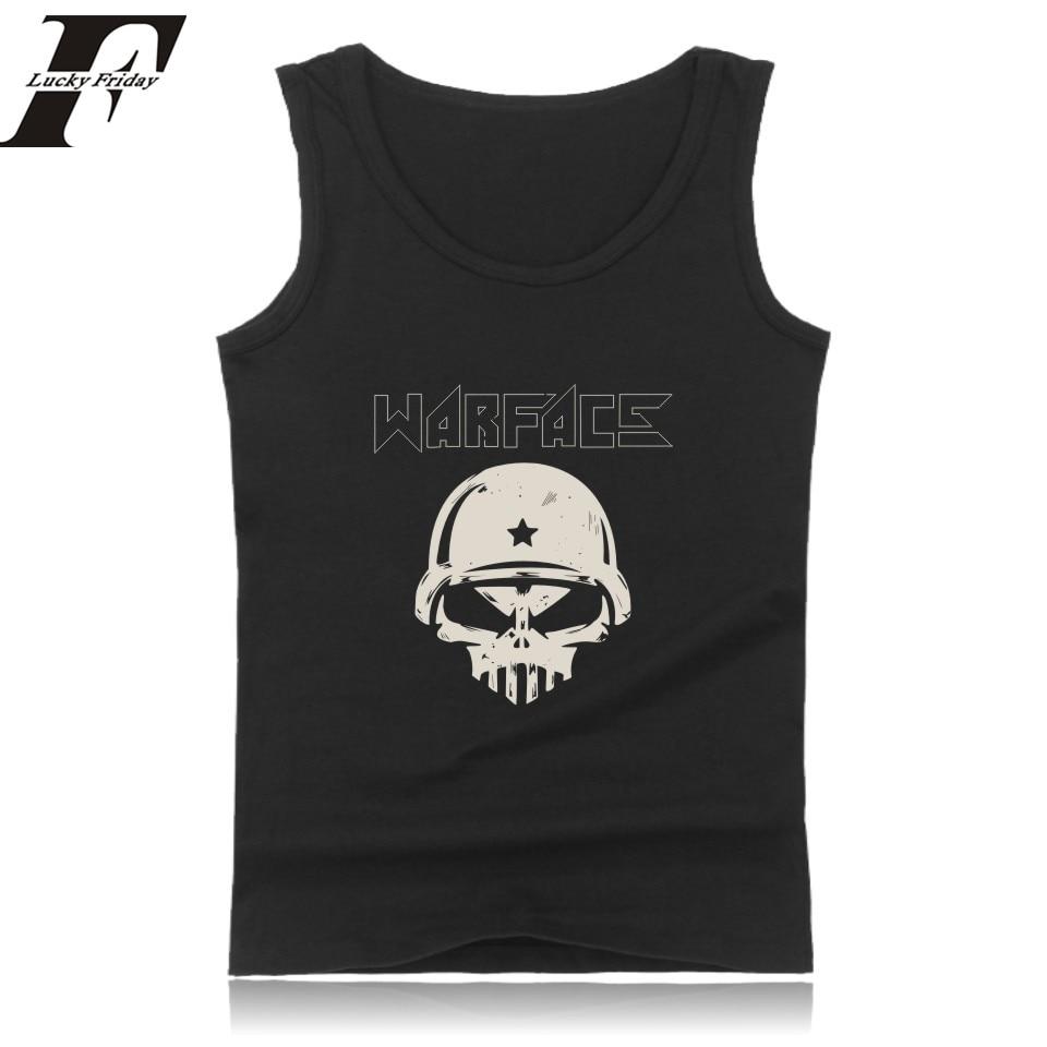 LUCKYFRIDAY warface tank top for men 2017 causal summer sleeveless  warface logo  Men 's tank top black/white/gray/navy blue 4xl