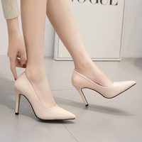 Office Pumps High Heels Shoes Women Pointed toe Shoes shallow Slip on Slides 2019 casual Sandalias mujer Stiletto black apricot
