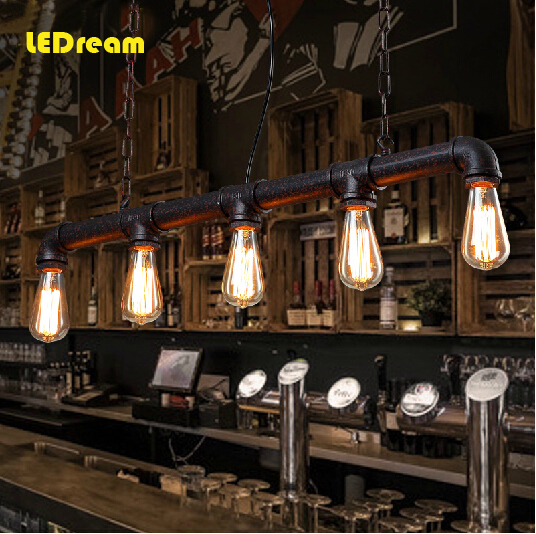 5 head water Edison bulbs personality cafe bar bar American industrial warehouse loft conduit droplight restoring ancient ways creative loft warehouse industry wind restoring ancient ways american country single head droplight character art lamp shade