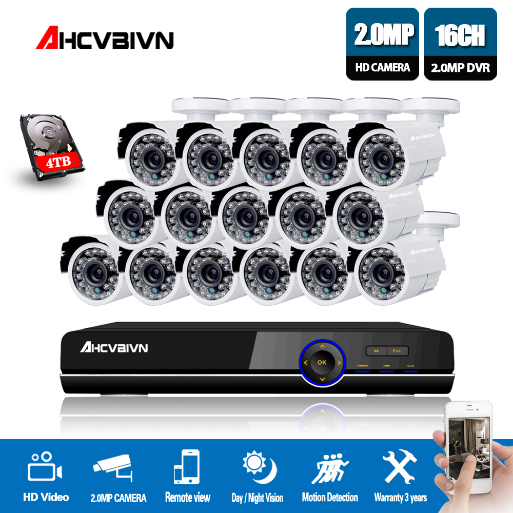 16CH 1080 p 720 p 960 H DVR Recorder Outdoor Sistema di Telecamere di Sicurezza Kit 16 pz 2.0MP Intemperie CCTV IR telecamere 16 Canali DVR Kit