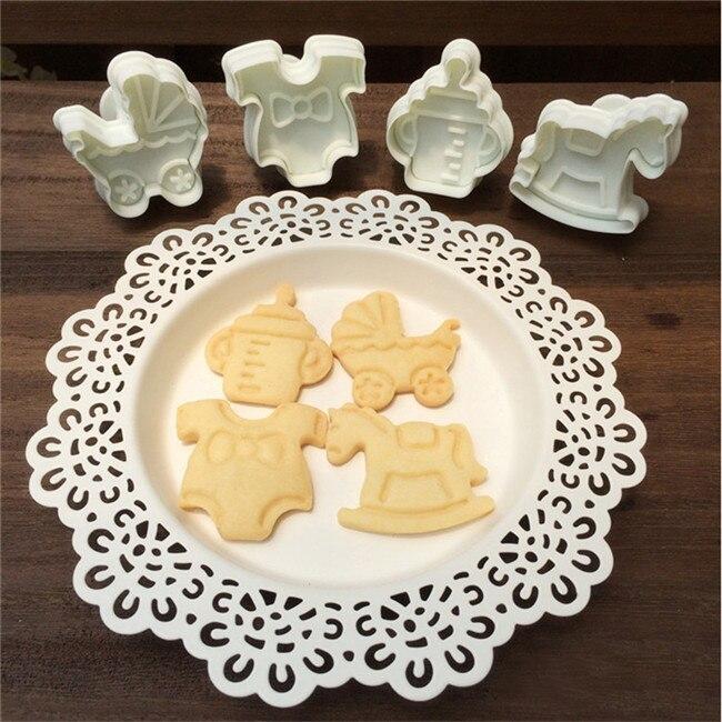 4pcslot Plastic Cookie Plunger Cutter Baby Kids Feeding Milk