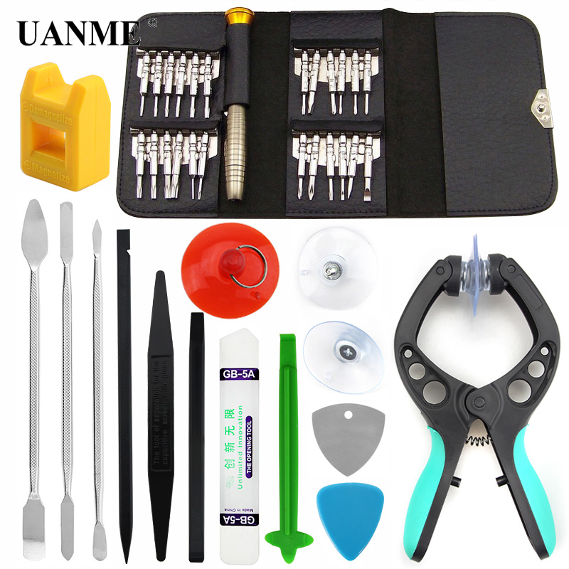 UANME 38in 1 Mobile Phone Screen Opening Pliers Repair Tools Kit For iPhone Samsung Huawei Screwdriver Pry Disassemble Tool Set