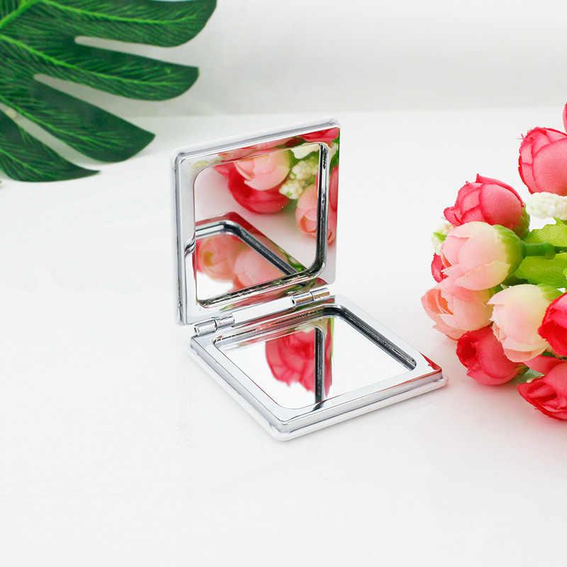 JWEIJIAO خمر الهندباء مرآة جيب مصغرة للطي مربع 1X/2X المكبرة بو الجلود ماكياج مرايا اليد الجمال أدوات