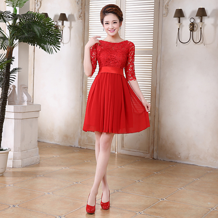 Champagne Lace Short Dress: Ladies Chiffon Knee Length Light Pink Red Short Champagne
