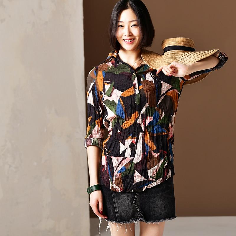 C2225 Künstlerische große größe gedruckt hälfte breasted holz taste dünne hemd lange stil boden hemd-in Blusen & Hemden aus Damenbekleidung bei AliExpress - 11.11_Doppel-11Tag der Singles 1