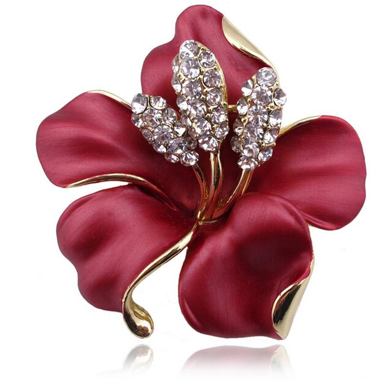 Women/'s Rose Rhinestone Brooch Pin Gold Plated Crystal Tulip Brooch Bridal Pins